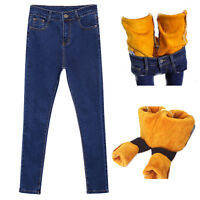 Women Denim jeans crop fleece-lined pants stretch High waist  Slim Skinny gift