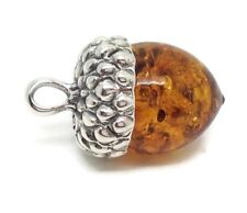 Real Amber acorn Pendant, Solid Sterling Silver, New, adjustable chain. UK.