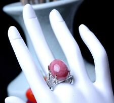 43.10ct Natural Rose Rhodonite Gemstone Women Cure Silver Plated Ring Adjustable