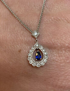 18k White Gold Natural Sapphire and Diamond Pendent Necklace