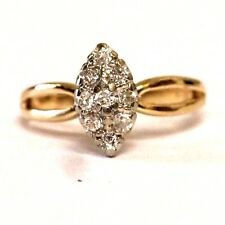 14k yellow gold ladies .18ct SI2 H womens diamond cluster ring 2.2g vintage