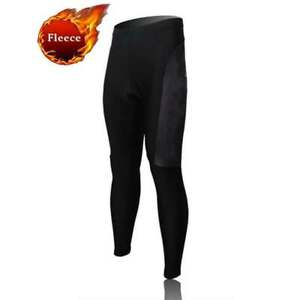 Men's Padded Winter Cycling Trousers Black Fleece Thermal Bike Bicycle Tights