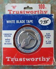VINTAGE TRUSTWORTHY US MADE 100 FOOT STEEL TAPE MEASURE WITH BOX USED ONCE