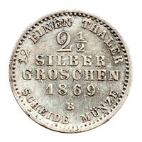 KM# 486 - 2½ Silber Groschen - Kingdom of Prussia - German States 1869 B (EF)
