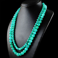 610.00 Cts Natural 2 Strand Green Onyx Round Shape Beads Necklace- NK 14 MI6
