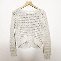 Moth Anthropologie Womens Light Tan Open Knit Button Back Sweater M Medium