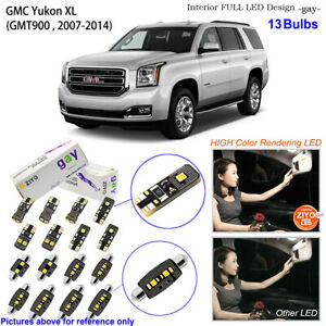 13 Bulbs Deluxe LED Interior Light Kit White For 2007-2014 GMT900 GMC Yukon XL