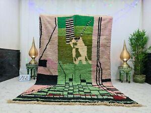 "Moroccan Boujaad Handmade Vintage Rug 6'2""x10' Berber Abstract Green Purple Rug"
