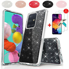 For Samsung Galaxy A51 A71 Case Bling Hybrid Rubber Phone Cover/Tempered Glass