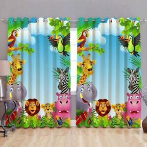 3D Digital Print Cartoon Animal Eyelet Polyester Door Curtain 2 pcs Kids Room