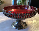 Southington+Co.+Quadruple+Plated+Silver+Centerpiece+with+Cranberry+Glass+Insert