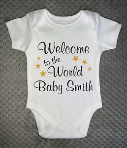 PERSONALISED BABY GROW - Welcome to the World Baby Vest Clothing gift ANY NAME