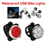 USB Rechargeable Bicycle Bike Lights IPX4 Waterproof Front Rear Tail Light Lamp