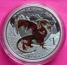 2012 Plata Dragón Rojo Galés de Tuvalu $1 un dólar moneda de prueba Caja + certificado De Autenticidad