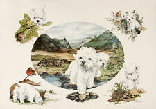 """WEST HIGHLAND WHITE WESTIE DOGS ART LIMITED EDITION PRINT """"The Four Seasons"""""""