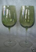 Quality Set of 2 Opalescent Sage Green & Crystal Blown Glass Goblets