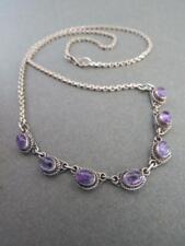 Vintage Silver Amethyst Necklace Pendant