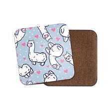 Cute Llama Cork Backed Drinks Coaster - Love Hearts Lama Daughter #8189