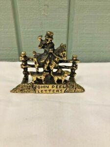 JOHN PEEL LETTERS Vintage Solid Brass Holder for Bills Paper Letters Horse Dogs