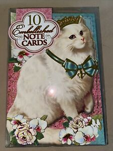PUNCH STUDIO (10) KITTY CAT Gold Embellished Blank Note Cards & Envelopes #56772