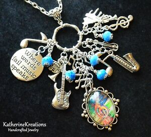 """Music Instruments """"WHERE WORDS FAIL MUSIC SPEAKS"""" Notes CHARM PENDANT NECKLACE"""