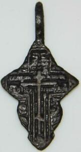 Fine Ancient Byzantine Bronze Cross Holy Medal Pendant ca.1400 Medieval Orthodox