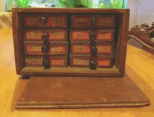 Antique Folk Art - Repurposed Counter Top Storage Sewing Cabinet - Tobacco Tins