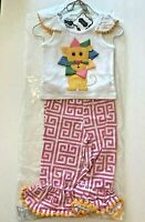 New Size 0-6 Months Mud Pie Baby Girls Ruffle Pants Outfit Set Clothes Lion 3-6