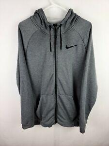Nike Dri-Fit Gym Training Full Zip Stretch Hooded Gray Jacket Men's Size Large