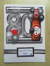 Luxury Hand-Made Male 80th Birthday Card -Can be Personalised