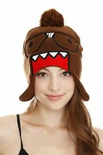 NWT Brown Domo Face Kun Nerd Glasses Japanese Anime Knit Lined Pom Beanie Hat