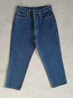 Vintage Levis High Waisted Straight Cropped Blue Wide 80s Jeans Size 12 W30 L25