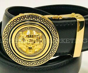Men Leather Automatic Ratchet Click Lock Buckle Gold Metal Lion Tiger Head Belt
