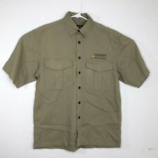 Simms Mens Size Small Short Sleeve Button Down Shirt Beige Pocket Cotton