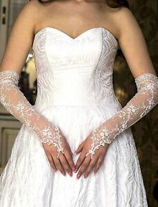 Neu Lange Brauthandschuhe aus Spitze mit Perlen Glasperlen   S / M weiß ivory