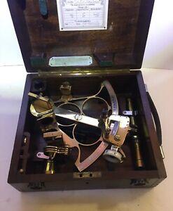 VINTAGE ALL ORIGINAL HUSUN SEXTANT IN ORIGINAL WOOD BOX - BOX LABEL DATED 1949