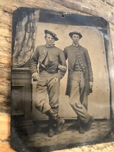 Excellent 1860s Tintype Photo Civil War Soldier Friends Arm in Arm! Lincoln Pin?