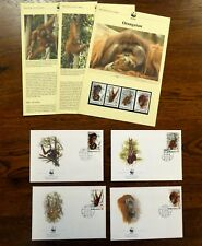 WWF INDONESIA 1989 ORANGUTAN FDCS INFO PAGES & MINT STAMPS 4V