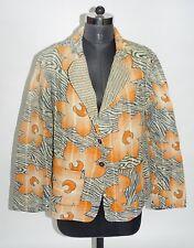 Vintage Quilted Kantha Jacket Handmade Women Indian Long Blazer Cotton Coat L