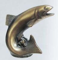Trout fish paperweight fly fishing brass metal made in USA made