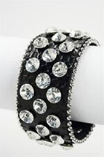 Black Leather Snap Bracelet With Large Clear Rhinestones
