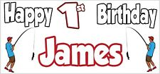 Fishing Fisherman 1st Birthday Banner X2 Party Decorations Boys Son ANY NAME