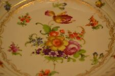 C&S Bavaria Footed Bowl Reticulated Gold Trim Dresden Flowers