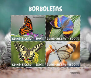 Guinea-Bissau Butterflies Stamps 2020 MNH Monarch Butterfly Fauna 4v M/S