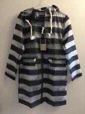 NEW Zara Waterproof Rain Coat Stripe Mac Jacket Festival