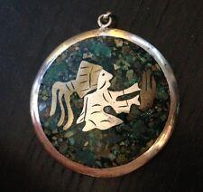 Unusual Bohemian Southwestern Mosaic Sterling Silver Brass Two Sided Pendant