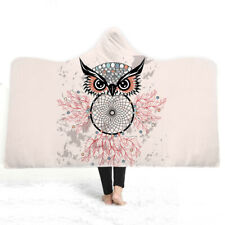 Novelty Christmas Gift Owl Dreamcatcher Sherpa Fleece Hooded Blanket Cloak Throw