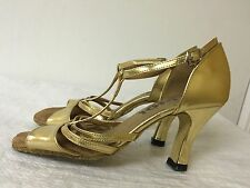 DSOL GOLD LEATHER/MAN MADE OPEN TOE BALLROOM DANCING SHOES, SZ 6.5