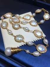 Certified Natural Edison Baroque Pearl 18K Gold Plated Necklace Sweater Chain