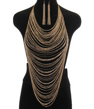 Gold Body Necklace & Earring Set Long Body Chain Fashion Jewelry Harness 1312